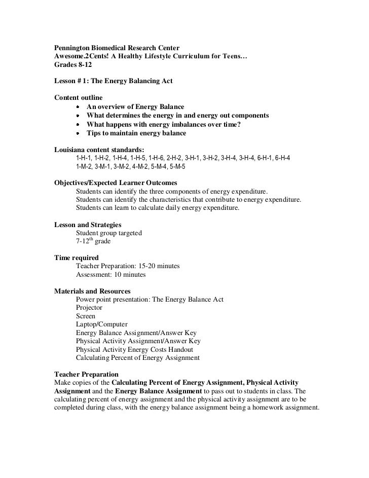 Energy balance act lesson plan Unit 1 – Balancing Act Worksheet Answers