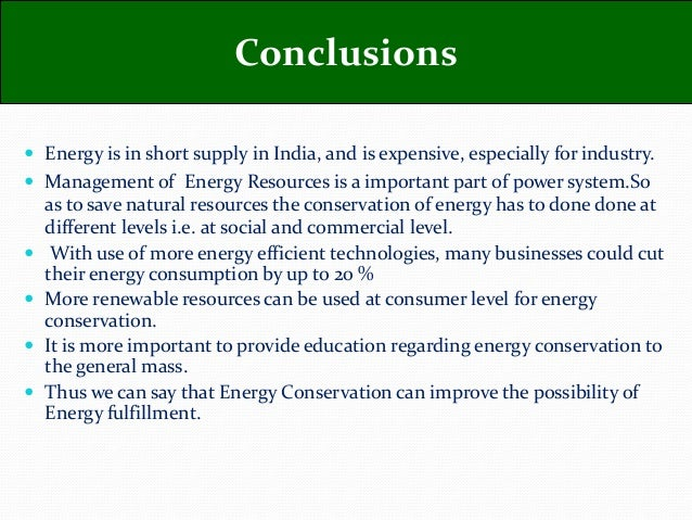 conclusion of project on energy conservation