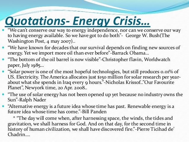 essay on energy crisis in the world