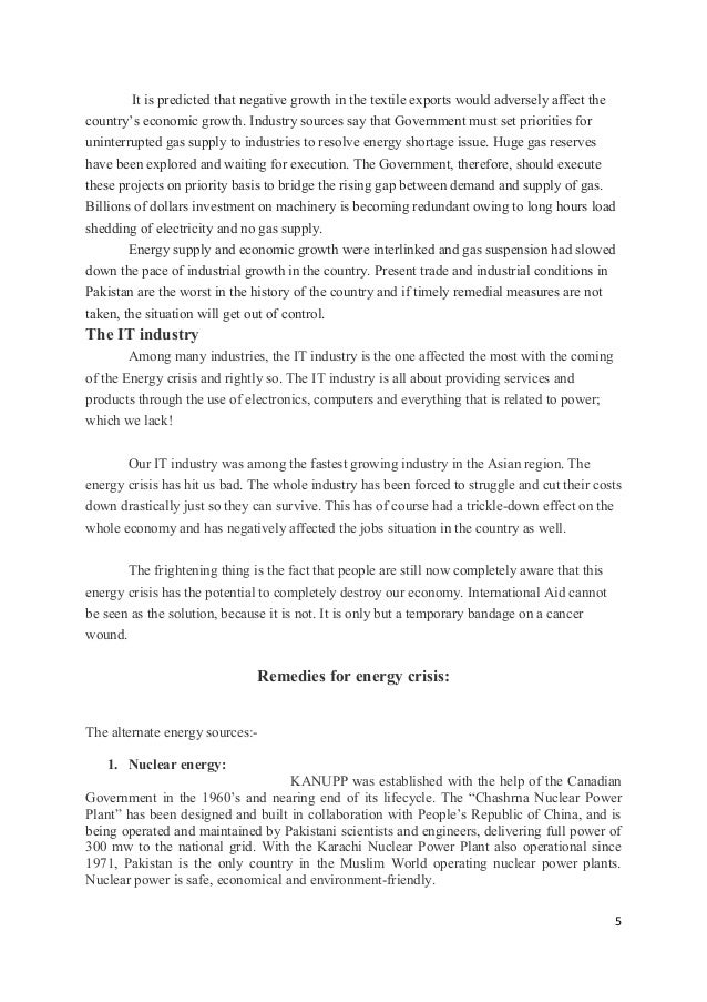 effects of energy crisis essays