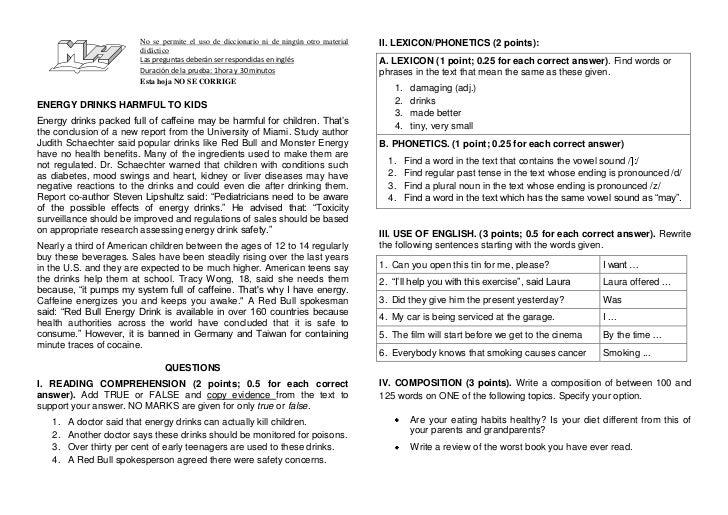 No se permite el uso de diccionario ni de ningún otro material didáctico<br />Las preguntas deberán ser respondidas en ing...