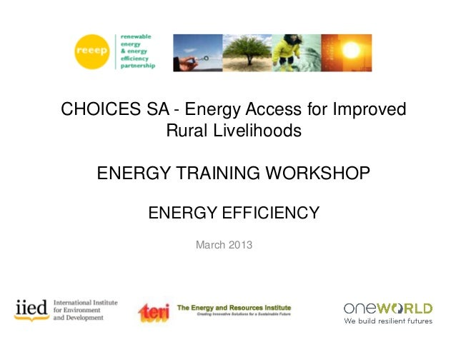 March 2013 CHOICES SA - Energy Access for Improved Rural Livelihoods ENERGY TRAINING WORKSHOP ENERGY EFFICIENCY