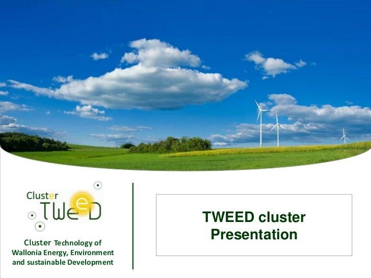 TWEED cluster   Cluster Technology of                                    PresentationWallonia Energy, Environmentand susta...