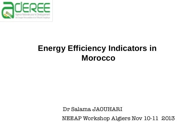 Energy Efficiency Indicators in Morocco  Dr Salama JAOUHARI NEEAP Workshop Algiers Nov 10-11 2013