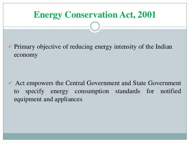 main objectives of energy conservation act