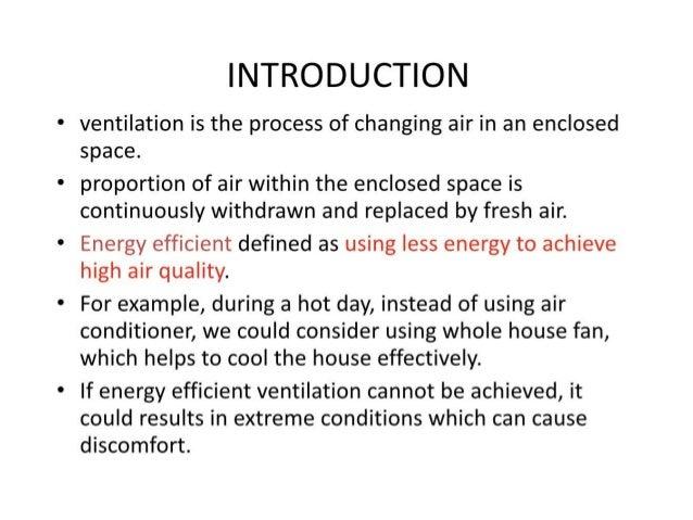 Energy Efficient Ventilation System