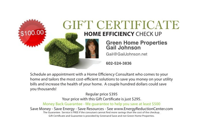 HOME EFFICIENCY CHECK UP                                                             Green Home Properties                ...