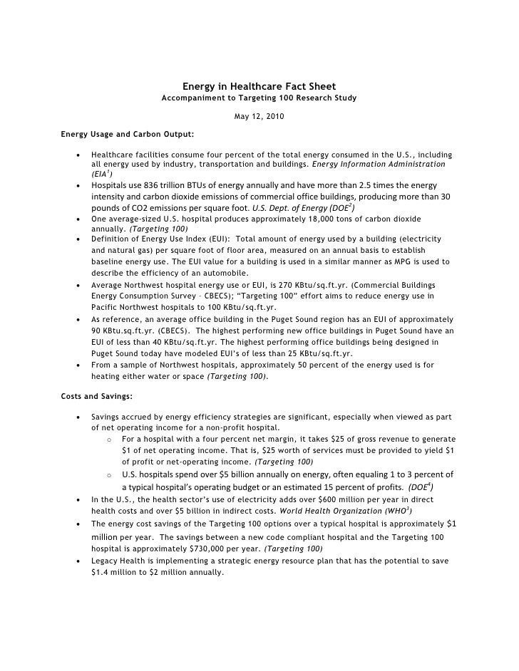 Energy in Healthcare Fact Sheet                          Accompaniment to Targeting 100 Research Study                    ...