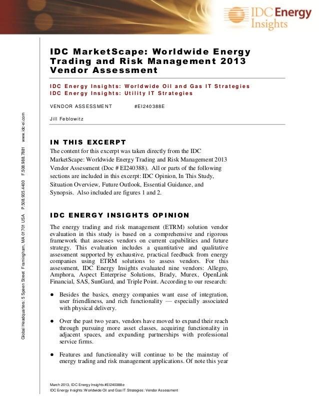 IDC MarketScape: Worldwide Energy                                                               Trading and Risk Managemen...