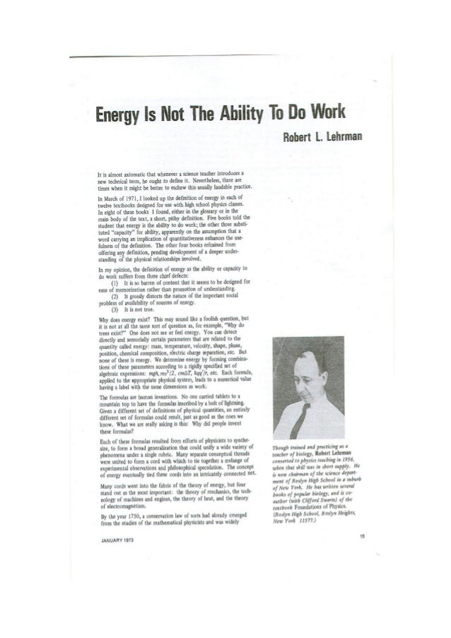 Energy is not the ability to do work