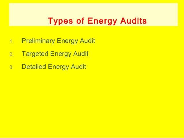 Types of Energy Audits 1.  Preliminary Energy Audit  2.  Targeted Energy Audit  3.  Detailed Energy Audit