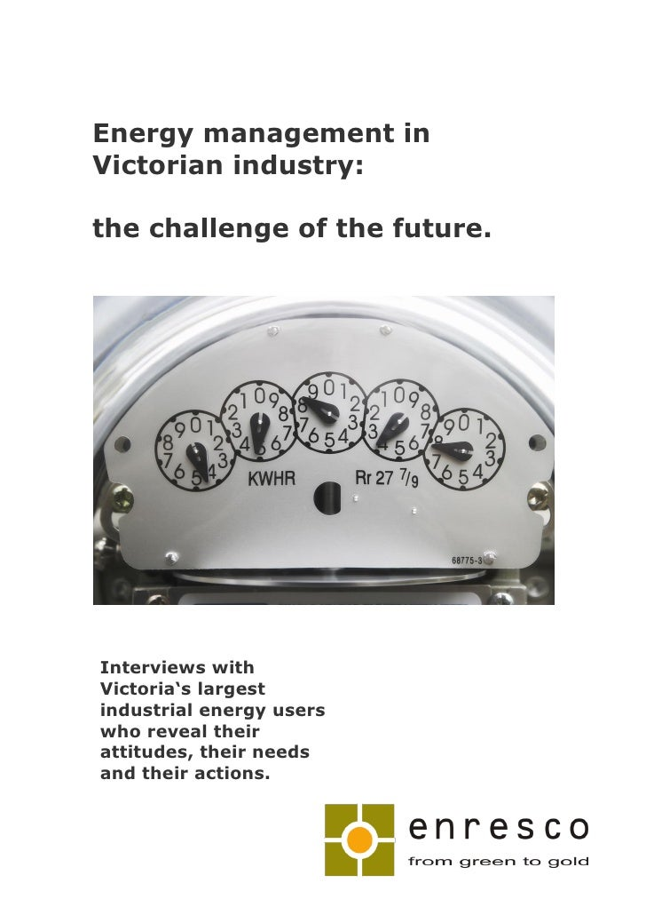 Energy management in Victorian industry:  the challenge of the future.     Interviews with Victoria's largest industrial e...
