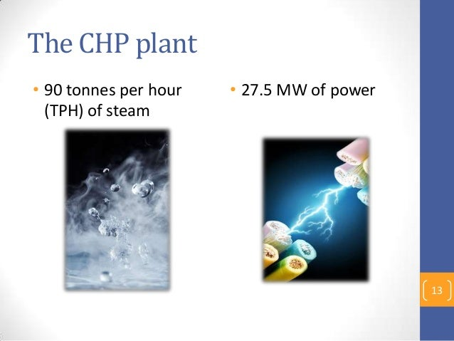 The CHP plant • 90 tonnes per hour (TPH) of steam • 27.5 MW of power 13