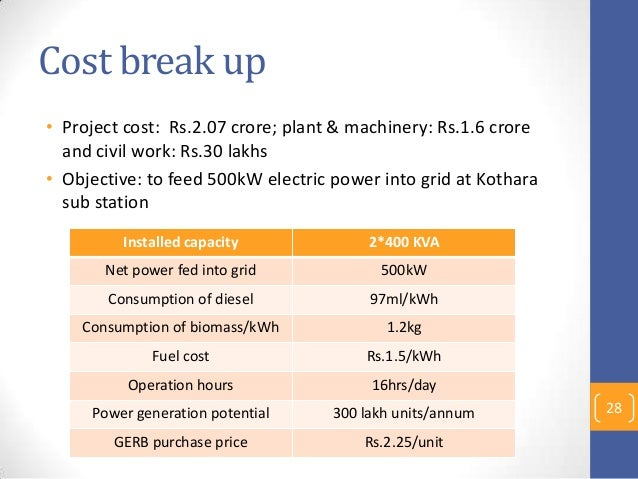 Cost break up • Project cost: Rs.2.07 crore; plant & machinery: Rs.1.6 crore and civil work: Rs.30 lakhs • Objective: to f...