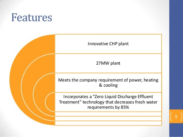 """Features Innovative CHP plant 27MW plant Meets the company requirement of power, heating & cooling Incorporates a """"Zero Li..."""
