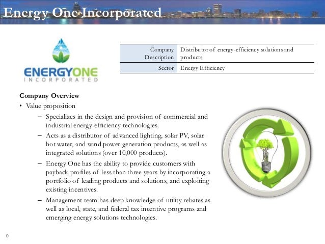 Energy One Incorporated                                                  Company      Distributor of energy-efficiency sol...