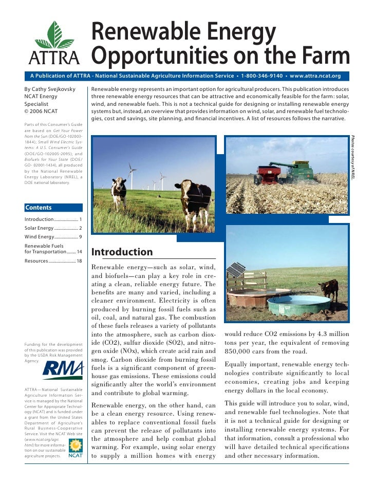 Renewable Energy  ATTRA                                 Opportunities on the Farm   A Publication of ATTRA - National Sust...