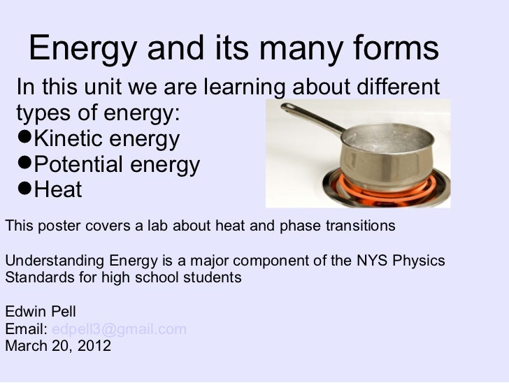 Energy and its many forms In this unit we are learning about different types of energy: Kinetic energy Potential energy ...