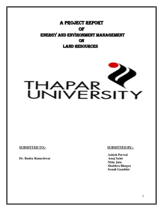 A PROJECT REPORT                             OF            Energy and Environment Management                            ON...