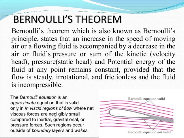 bernoullis theorem 31 bernoulli's theorem (after d bernoulli 1700-1782) consider steady flow of an inviscid fluid in a small section of a stream tube as illustrated in figure 3 below.