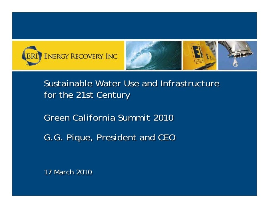 Sustainable Water Use and Infrastructure     Sustainable Water Use and Infrastructure     for the 21st Century     for the...