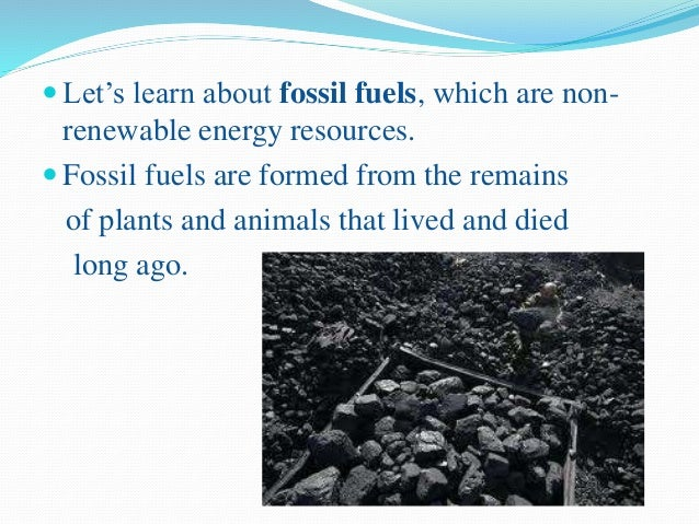 Over time, the remains of dead plants and animals are changed into energy-rich fuels, called fossil fuels. Some examples...