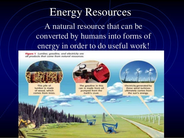 Energy Resources  A natural resource that can beconverted by humans into forms ofenergy in order to do useful work!