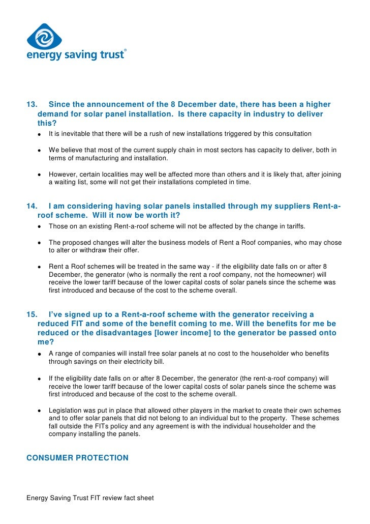 Leaked Energy Saving Trust Fit Review Fact Sheet