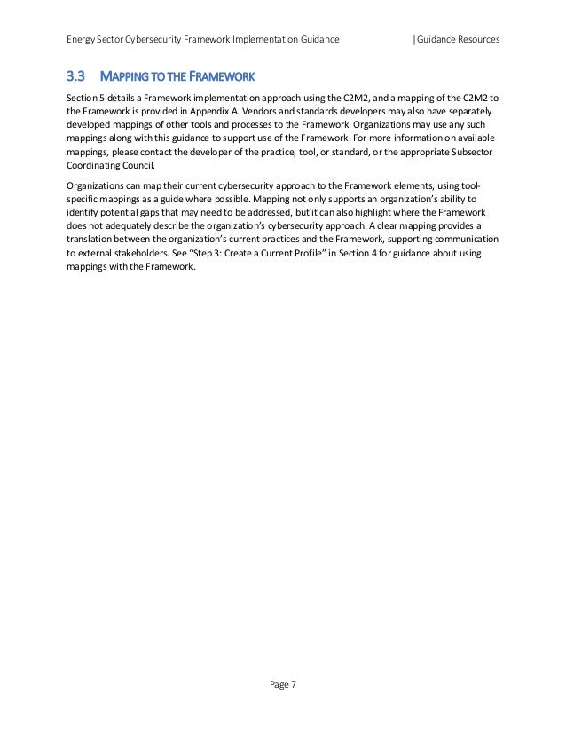 Energy Sector Cybersecurity Framework Implementation Guidance │Guidance Resources 3.3 MAPPING TO THE FRAMEWORK Section 5 d...