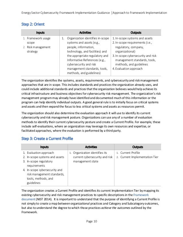 Energy Sector Cybersecurity Framework Implementation Guidance │Approach to Framework Implementation Step 2: Orient Inputs ...