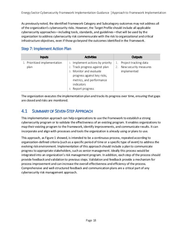 Energy Sector Cybersecurity Framework Implementation Guidance │Approach to Framework Implementation As previously noted, t...