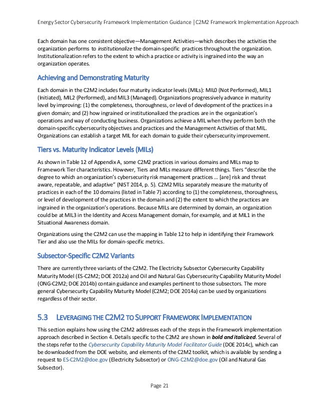 Energy Sector Cybersecurity Framework Implementation Guidance │C2M2 Framework Implementation Approach Each domain has one ...