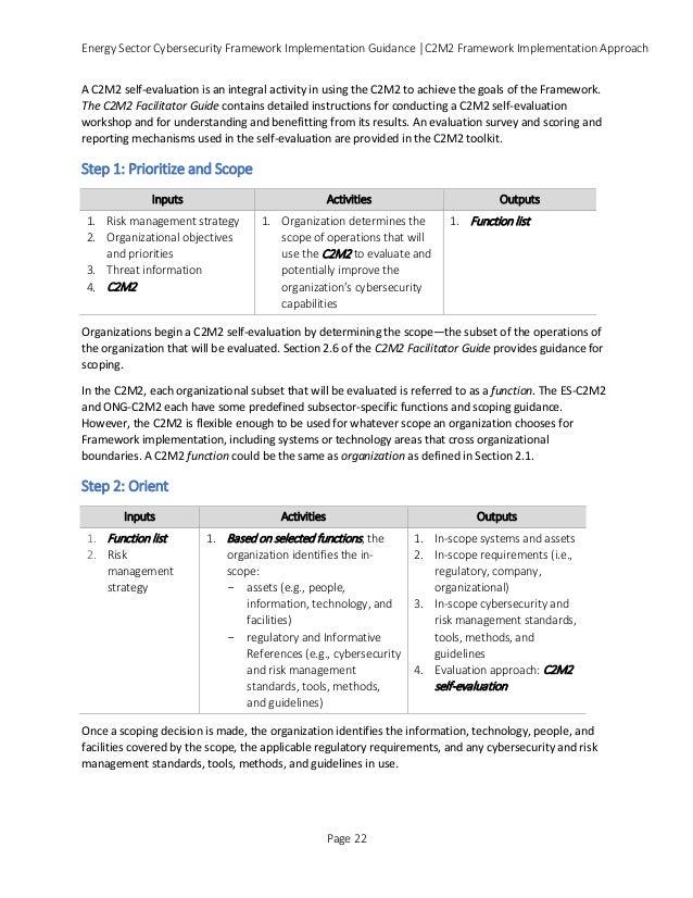 Energy Sector Cybersecurity Framework Implementation Guidance │C2M2 Framework Implementation Approach A C2M2 self-evaluati...