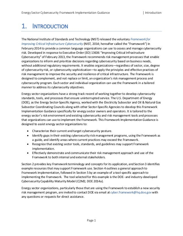 Energy Sector Cybersecurity Framework Implementation Guidance │ Introduction 1. INTRODUCTION The National Institute of Sta...