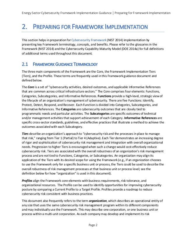 Energy Sector Cybersecurity Framework Implementation Guidance │ Preparing for Framework Implementation 2. PREPARING FOR FR...