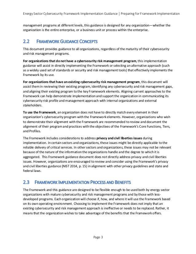 Energy Sector Cybersecurity Framework Implementation Guidance │ Preparing for Framework Implementation management programs...