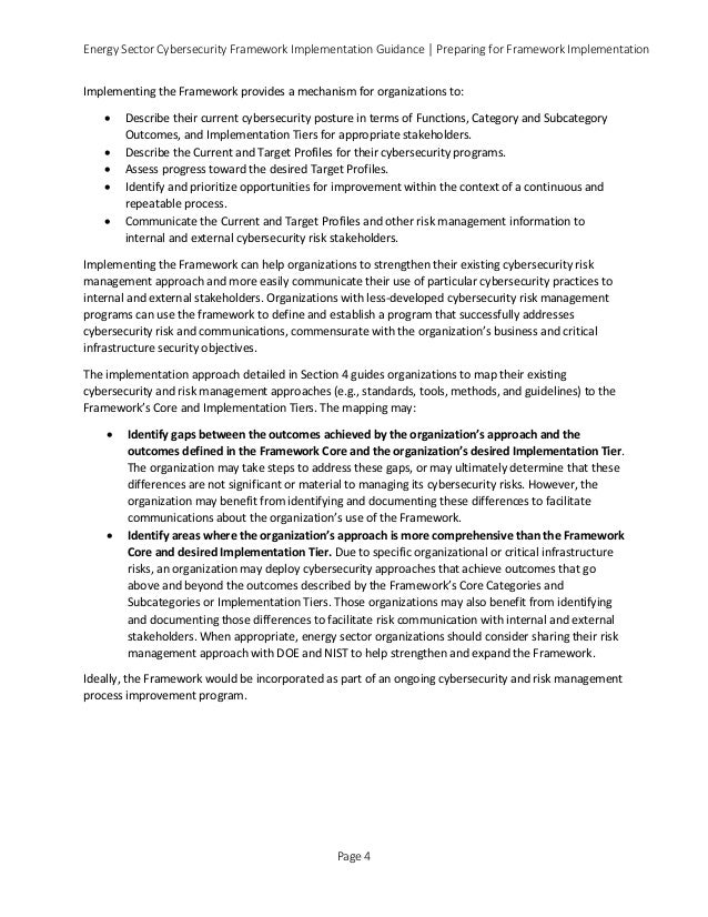 Energy Sector Cybersecurity Framework Implementation Guidance │ Preparing for Framework Implementation Implementing the Fr...