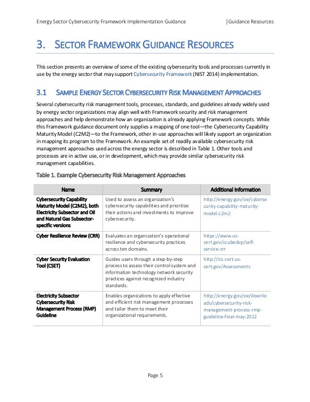 Energy Sector Cybersecurity Framework Implementation Guidance │Guidance Resources 3. SECTOR FRAMEWORK GUIDANCE RESOURCES T...