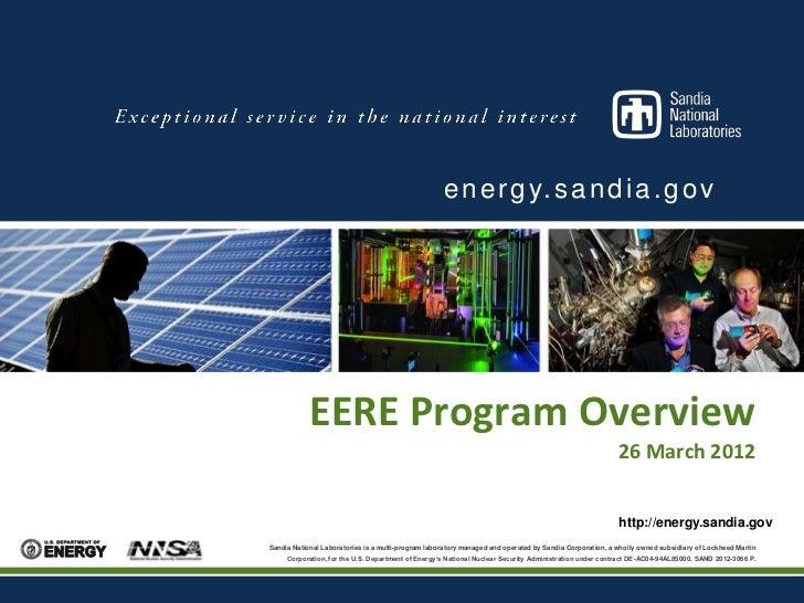 e n e r g y. s a n d i a . g o v            EERE Program Overview                                                         ...