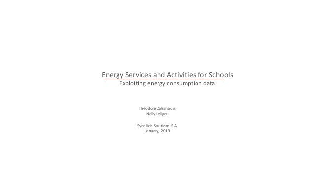 Energy Services and Activities for Schools Exploiting energy consumption data Theodore Zahariadis, Nelly Leligou Synelixis...