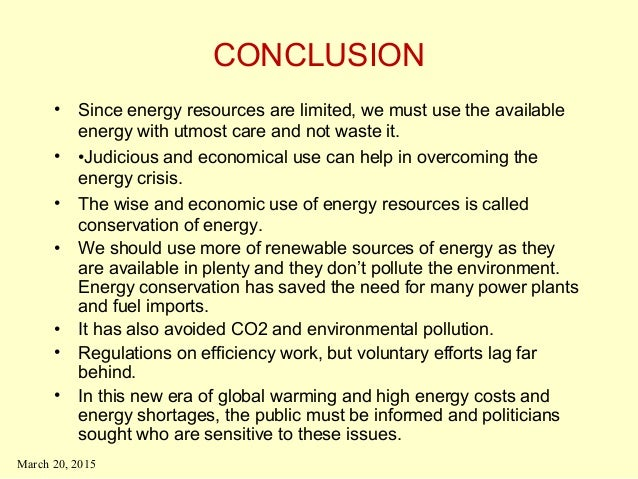 Conclusion For A Project On Natural Resources