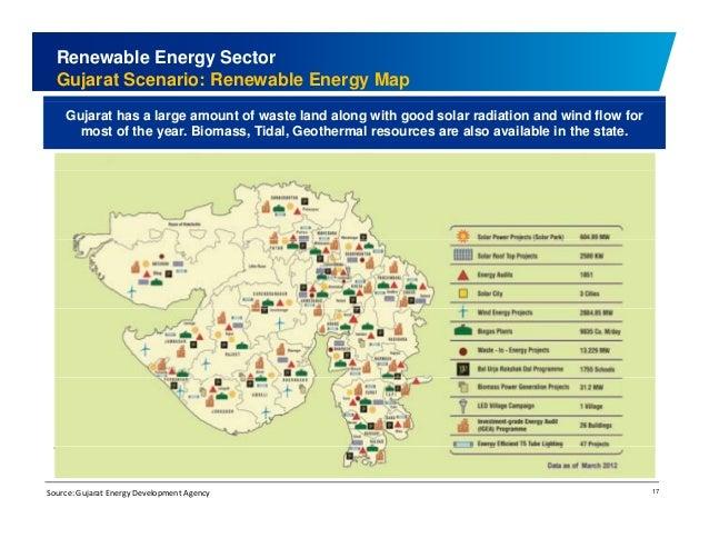 Renewable Energy Sector  Gujarat Scenario: Renewable Energy Map  Gujarat has a large amount of waste land along with good ...
