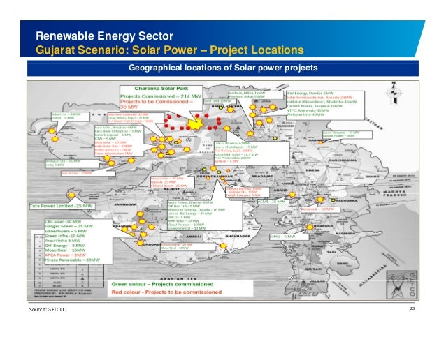 Renewable Energy Sector  Gujarat Scenario: Solar Power – Project Locations  Geographical locations of Solar power projects...