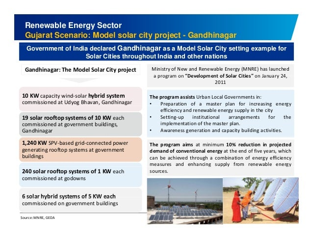 Renewable Energy Sector  Gujarat Scenario: Model solar city project - Gandhinagar  Government of India declared Gandhinaga...