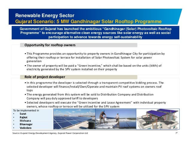 Renewable Energy Sector  Gujarat Scenario: 5 MW Gandhinagar Solar Rooftop Programme  Government of Gujarat has launched th...