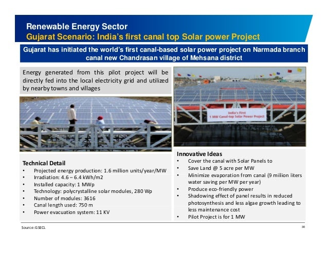 Renewable Energy Sector  Gujarat Scenario: India's first canal top Solar power Project  Gujarat has initiated the world's ...