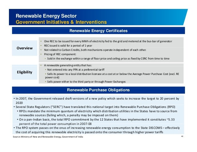 Renewable Energy Sector  Government Initiatives & Interventions  • One REC to be issued for every MWh of electricity fed t...