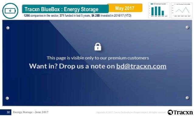 Tracxn Research - Energy Storage Report, June 2017