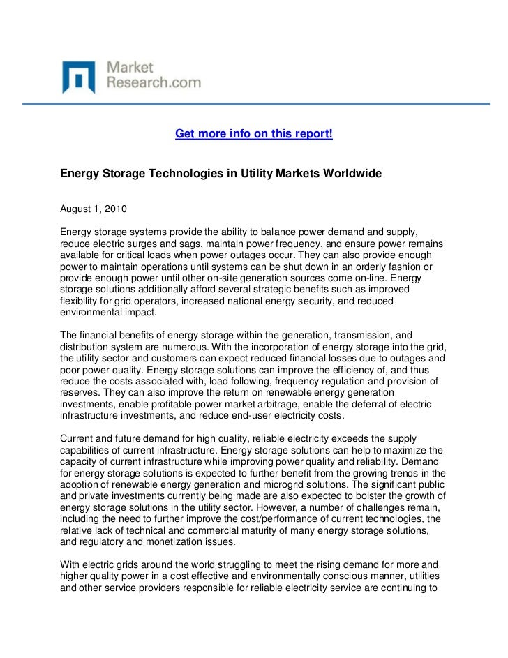 Get more info on this report!Energy Storage Technologies in Utility Markets WorldwideAugust 1, 2010Energy storage systems ...