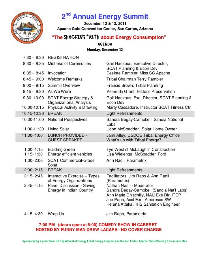 2nd Annual Energy Summit                                       December 12 & 13, 2011                          Apache Gold...